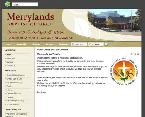 Merrylands Baptist Church website screenshot built by Cohesive IT Solutions