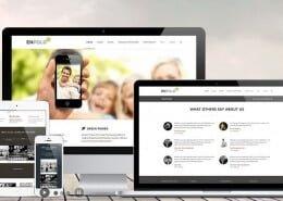 Responsive WordPress website design on computers, laptops, tablets and phones