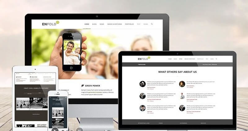 Responsive WordPress website design on computers, laptops, tablets and phones